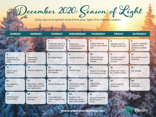 December 2020 Calendar of Light