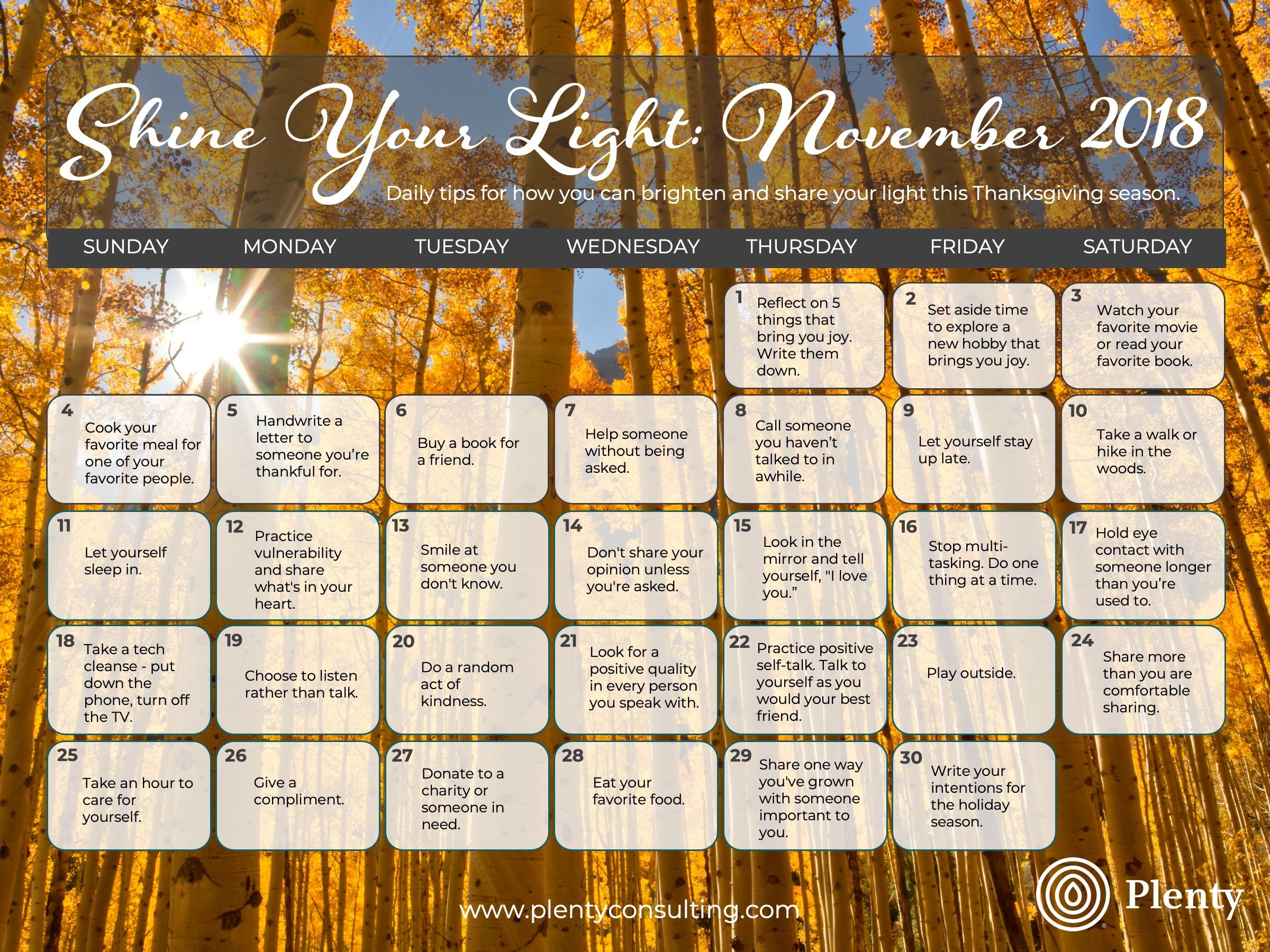 November Shine Your Light Calendar- Download